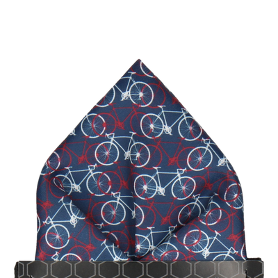 Navy, Red, White Bicycle Print Pocket Square