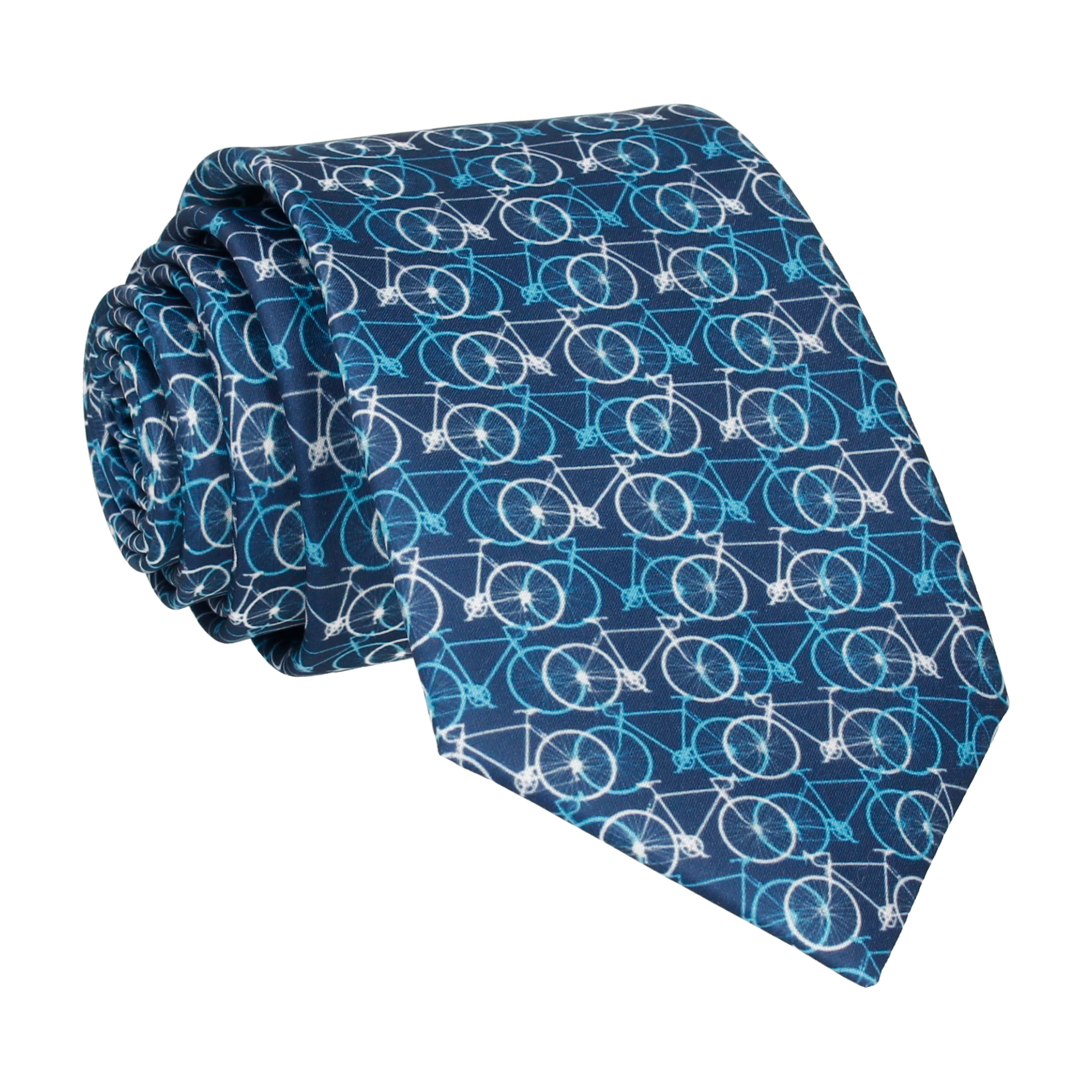 Busy Bicycles Blue & White Tie