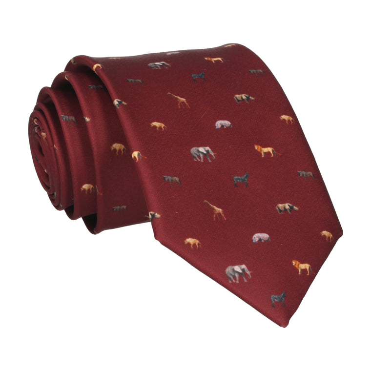 African Animals Burgundy Red Tie