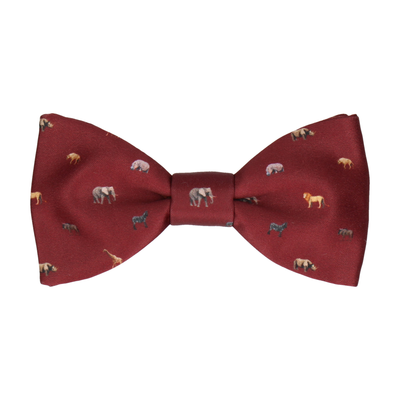 Burgundy African Safari Animals Bow Tie