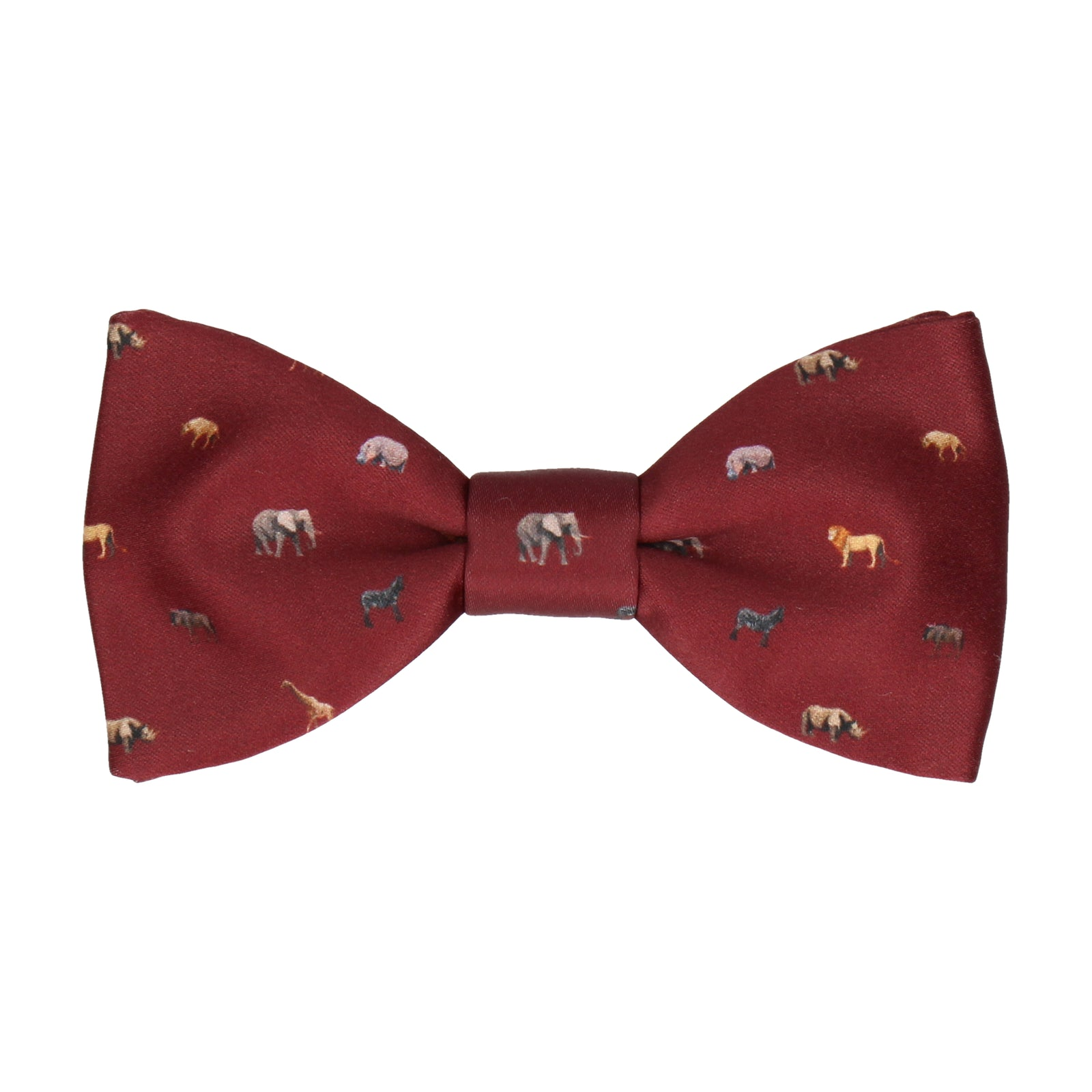 African Animals Burgundy Bow Tie