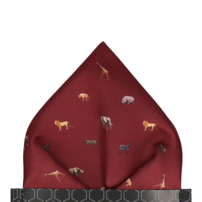 African Animals Burgundy Pocket Square