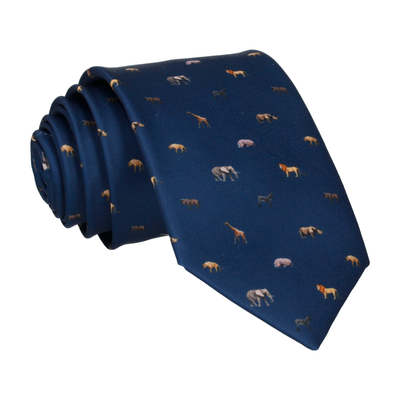 African Animals Navy Blue Tie