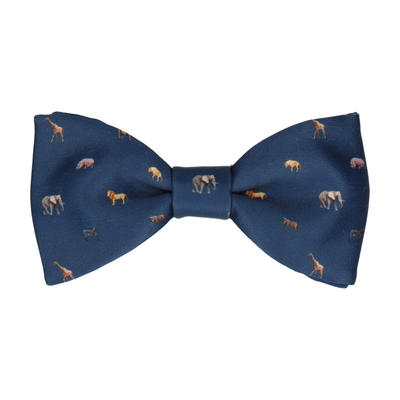 African Animals Navy Blue Bow Tie
