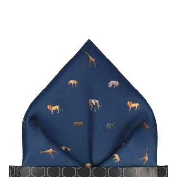 African Animals Navy Blue Pocket Square