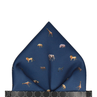 Navy Blue African Safari Animals Pocket Square