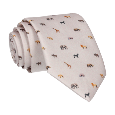 Stone White African Safari Animals Tie