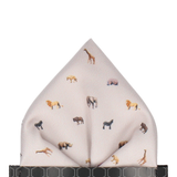 Stone White Safari Animals  Pocket Square