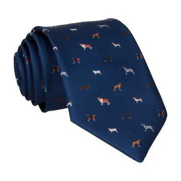 Dog Print Navy Blue Tie