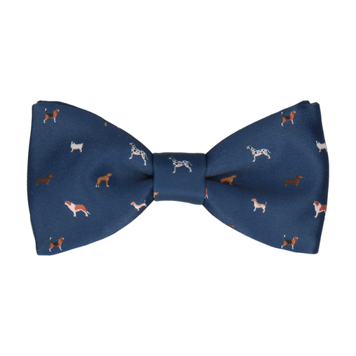 Dog Print Navy Blue Bow Tie