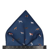 Dog Print Navy Blue Pocket Square