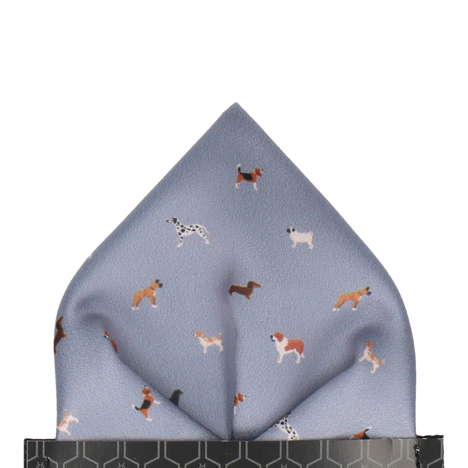 Blue Grey Dog Pattern Pocket Square
