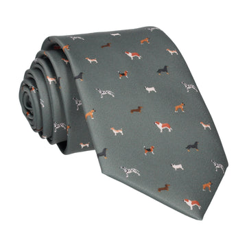 Dog Print Olive Green Tie