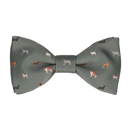 Dog Print Olive Green Bow Tie