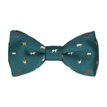 Farm Animals Teal Bow Tie