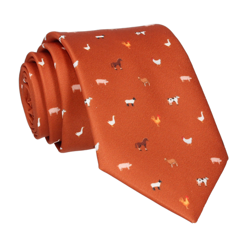 Farm Animals Orange Tie