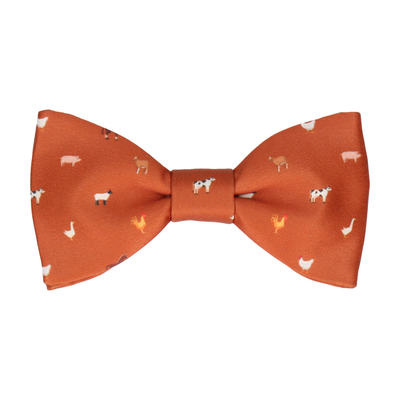 Farm Animals Orange Bow Tie