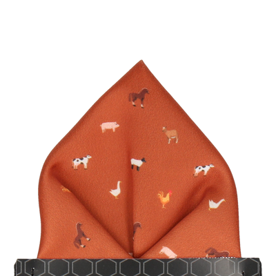 Farm Animals Orange Pocket Square