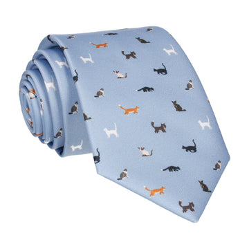 Cat Print Steel Blue Tie