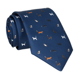 Cat Print Navy Blue Tie