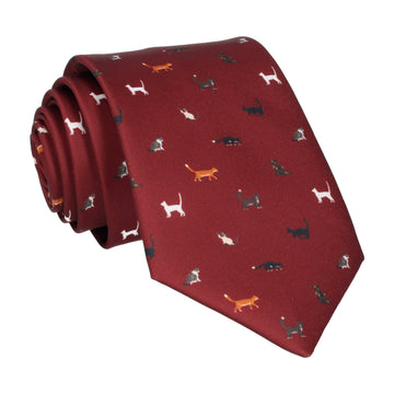 Cat Print Burgundy Red Tie