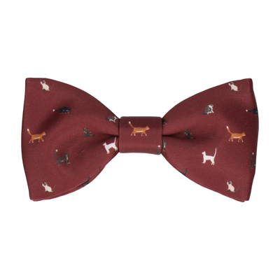 Cat Print Burgundy Red Bow Tie