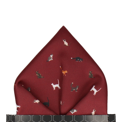 Burgundy Red Cat Print Pocket Square