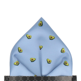 Avocados Steel Blue Pocket Square