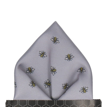 Manchester Bee Grey Pocket Square
