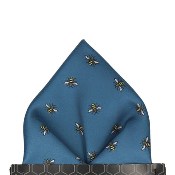 Manchester Bee Dark Blue Pocket Square