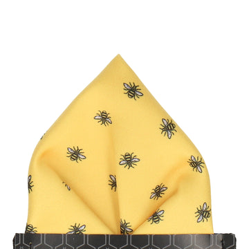 Manchester Bee Yellow Pocket Square
