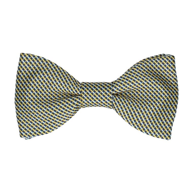 Blue & Yellow Mini Weave Bow Tie