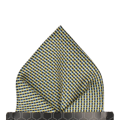 Blue & Yellow Mini Weave Pocket Square