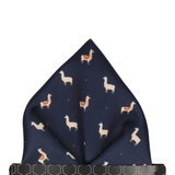 Blue Navy Llamas Pattern Pocket Square