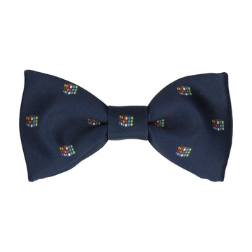 Navy Blue Cube Puzzle Bow Tie