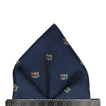 Navy Blue Cube Puzzle Pocket Square