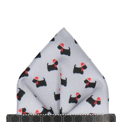 Christmas Scotty Dog Pocket Square