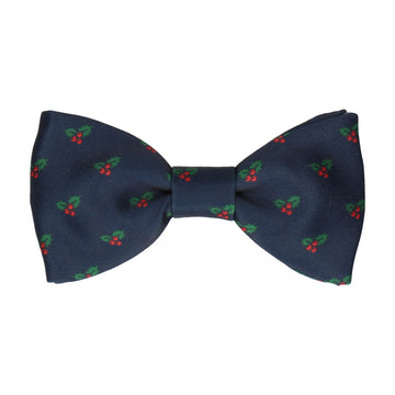 Polka Holly Berries Christmas Bow Tie