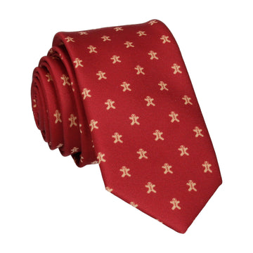 Polka Gingerbread Burgundy Christmas Tie