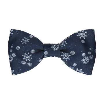 Snowflakes Navy Blue & Silver Christmas Bow Tie