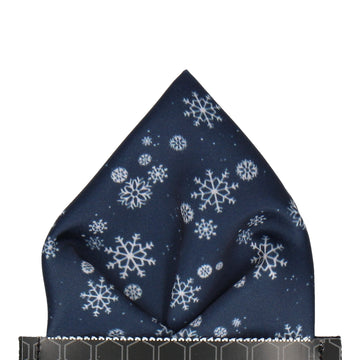 Snowflakes in Navy & Silver Christmas Pocket Square