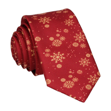 Snowflakes in Burgundy Christmas Tie