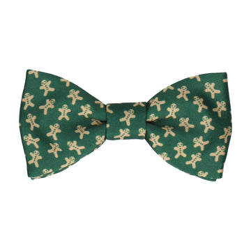 Gingerbread Men Green Christmas Bow Tie