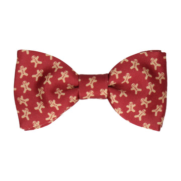 Gingerbread Men Burgundy Christmas Bow Tie