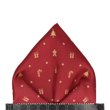 Burgundy Red Christmas Icons Pocket Square