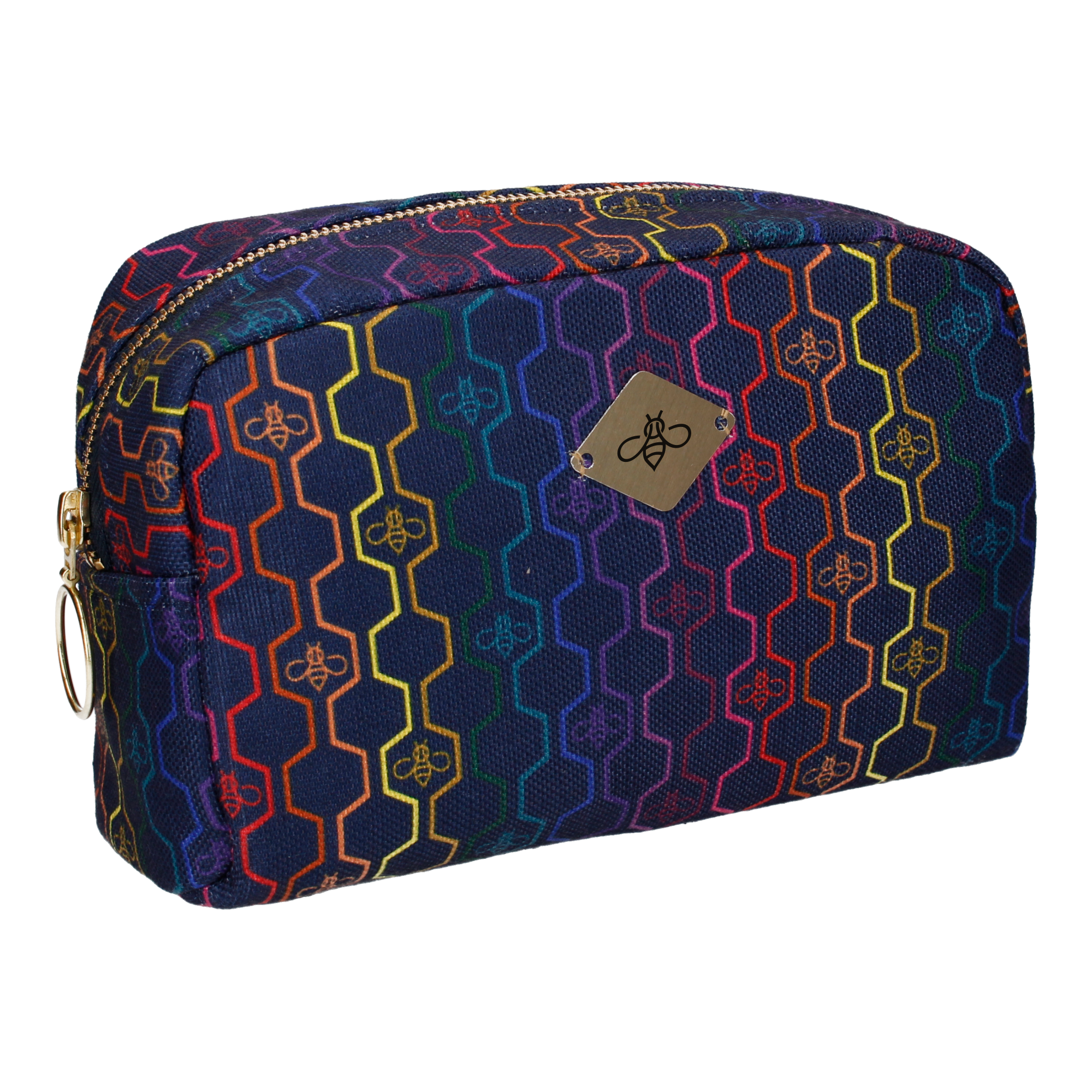 GEO HONEYCOMB IN RAINBOW COSMETIC BAG (LARGE)