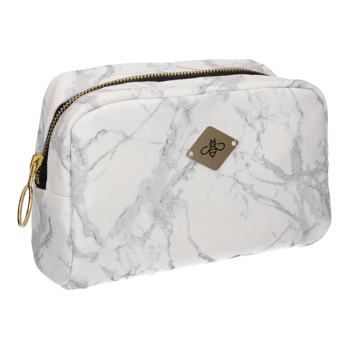 WHITE MARBLE COSMETIC BAG (LARGE)