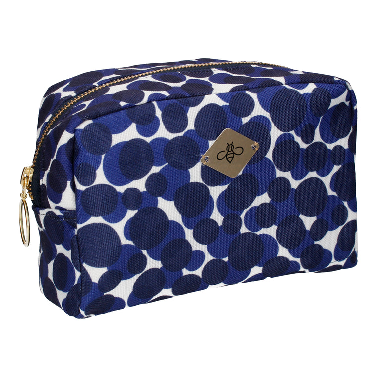 Blue Modern Dots Cosmetic Bag (Large)
