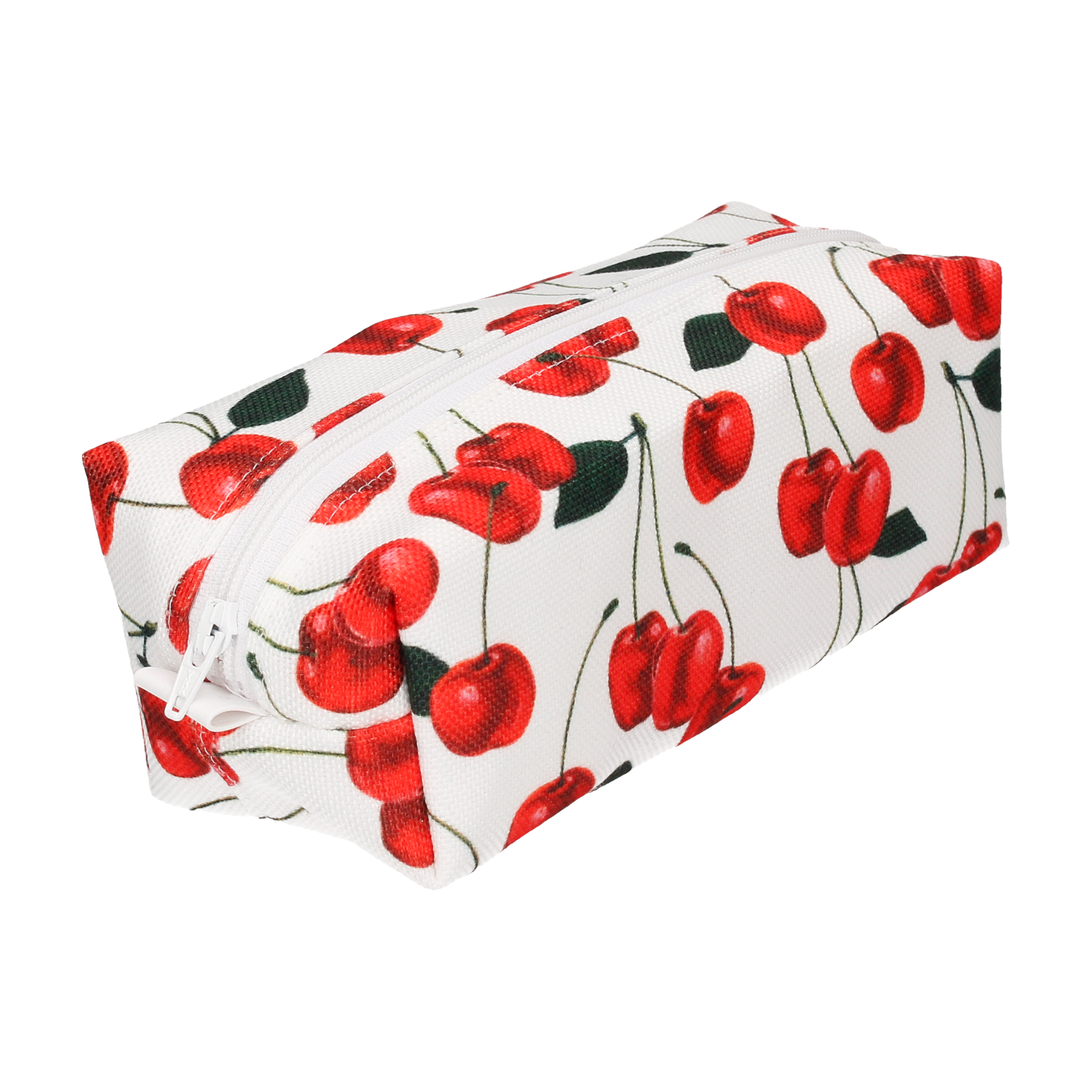 CHERRIES IN WHITE COSMETIC BAG (SMALL)