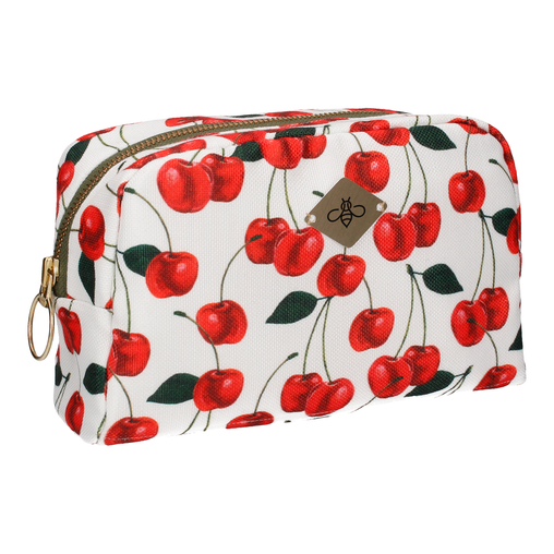 CHERRIES IN WHITE COSMETIC BAG (LARGE)